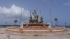 Paseo Princesa water fountain Old San Juan 2 Stock Footage