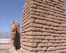 Borax mine ruins, Furnace Creek, Death Valley close up brick wall + pan Stock Footage