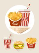 French fries and soda in paper cup - stock illustration
