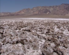 Devils Golf course, salt pan in Death Valley, Badwater - tilt down rough texture Stock Footage