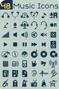 48 Music Icons Vector Set - stock illustration