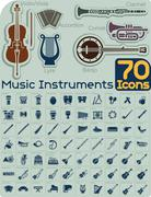 70 Music Instruments Icons Vector Set - stock illustration