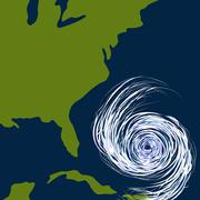 east coast hurricane drawing - stock illustration