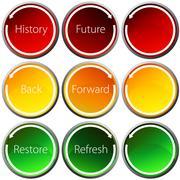 backward forward arrow button set - stock illustration