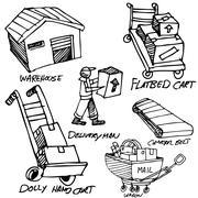 Manufacturing icon drawing set Stock Illustration