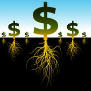 Rooted dollar signs Stock Illustration
