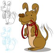 Dog ready for a walk Stock Illustration