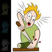 man cuts himself chopping vegetable - stock illustration