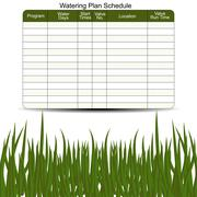 watering schedule chart - stock illustration