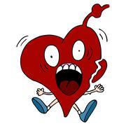 heart attack cartoon character - stock illustration