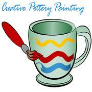 creative pottery painting - stock illustration