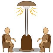 people sitting under a lamp heater - stock illustration