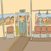 crowd waiting to board the subway - stock illustration