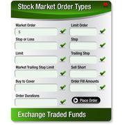 Stock market order types menu Stock Illustration
