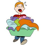 Heavy laundry basket Stock Illustration