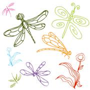 Dragonfly drawing set Stock Illustration