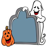 tombstone ghost pumpkin - stock illustration