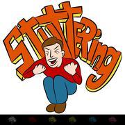 man frustrated stuttering - stock illustration
