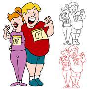 couple join marathon to lose weight - stock illustration