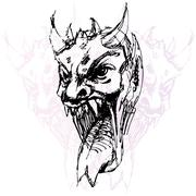 demon face drawing - stock illustration