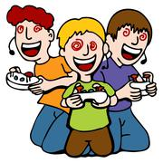 Video game addicted kids Stock Illustration
