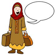 muslim girl traveler - stock illustration