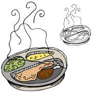microwave dinner - stock illustration