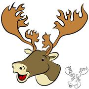 caribou face - stock illustration