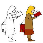 Muslim girl reading book Stock Illustration