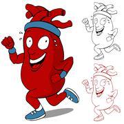 healthy heart runner - stock illustration