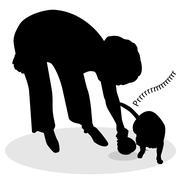 Stock Illustration of woman feeding cat