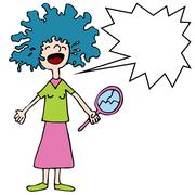 crying girl with bad perm - stock illustration