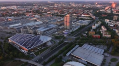 Look at munich and the bmw headquarters Stock Footage