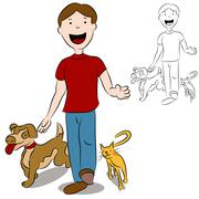 man walking with his pets in the park - stock illustration