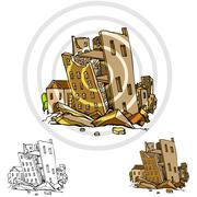 major city earthquake - stock illustration