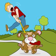 Man trying to walk his dog Stock Illustration