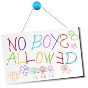 no boys allowed sign - stock illustration