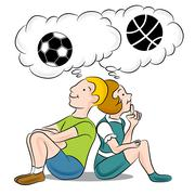 Children thinking about sports Stock Illustration