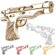 Handgun sketch Stock Illustration