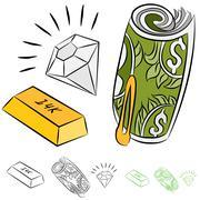 Monetary items Stock Illustration