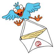 Bird delivering email Stock Illustration