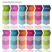 Stock market sectors arrow flow chart Stock Illustration