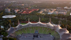 View of munich olympic stadium Stock Footage