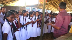 School girls visiting Kosgoda turtle hatchery. Stock Footage