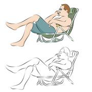 man tanning outdoors using phone - stock illustration