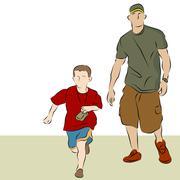 Father son walking Stock Illustration