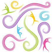 Dancing figures Stock Illustration