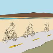 Family riding bicycles on the beach Stock Illustration