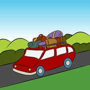 family vacation car trip - stock illustration