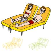 Sun tanning couple Stock Illustration